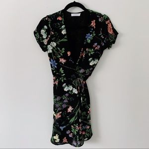 LUSH Black Floral Wrap Dress XS